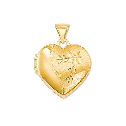 amor Medaillon-Anhänger Herz Gold 375 (Gold Medaillon Anhänger)
