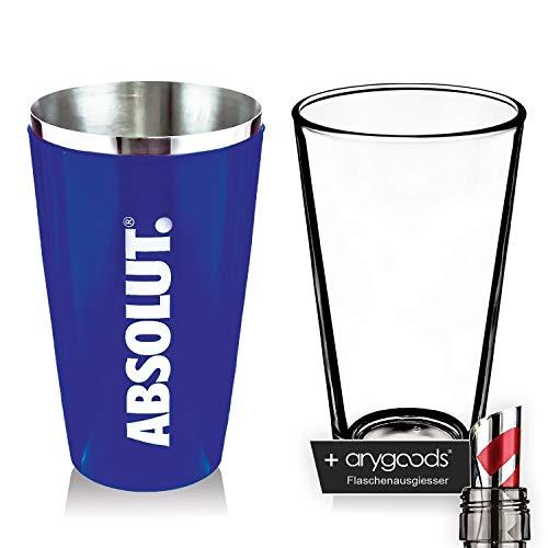 Absolut Vodka Boston Shaker Glas Gläser Mixer Cocktail Gastro NEU + anygoods Flaschenausgiesser (Absolut Shaker)