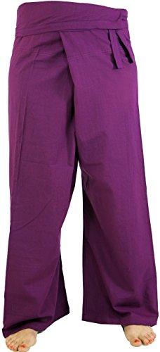 Bequeme Thai-Fischerhose/Yogahose aus Baumwolle, die durch ihre Wickeltechnik für einen Taillenumfang von 80 - 120 cm geeignet ist. Bei einer Körpergröße von 165 cm reicht diese Hose etwa bis zum Knöchel. Traditionell wird die Hose ca. 10 cm über dem...