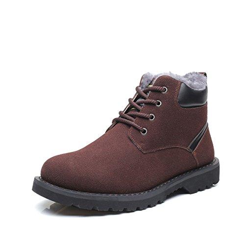 Uomo stivali da neve invernali, gracosy più velluto martin stivali uomo invernali scarpe classico delicatamente neve morbide scarpe di cotone piatto pelliccia stivali calzature sneaker moda marrone