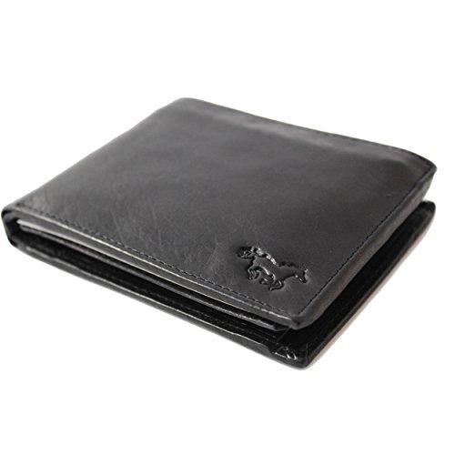 Safekeepers Cartera de Piel - para Hombre - Protección RFID / NFC - Cadena Posibilidad (Negro)
