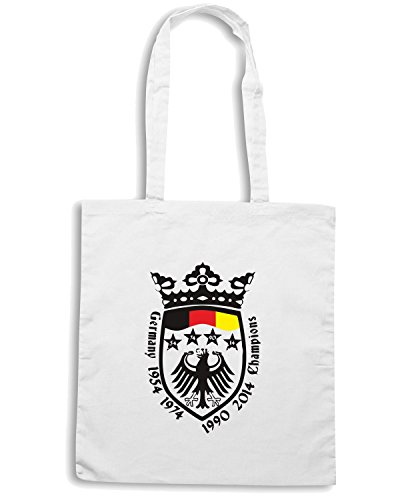 T-Shirtshock - Borsa Shopping WC0366 Germany 4 Times Champions of The World Bianco