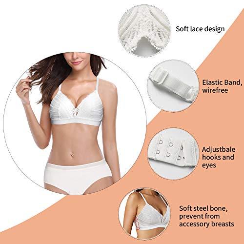 Rolewpy Damen Bügelloser BH, volle Abdeckung, Bralette mit Spitze, gepolstert - Weiß - XX-Large - 4