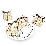 JZK 50 Floreale beige scatola portaconfetti con bigliettini, scatolina bomboniera segnaposto portariso per matrimonio compleanno anniversario promessa nozze