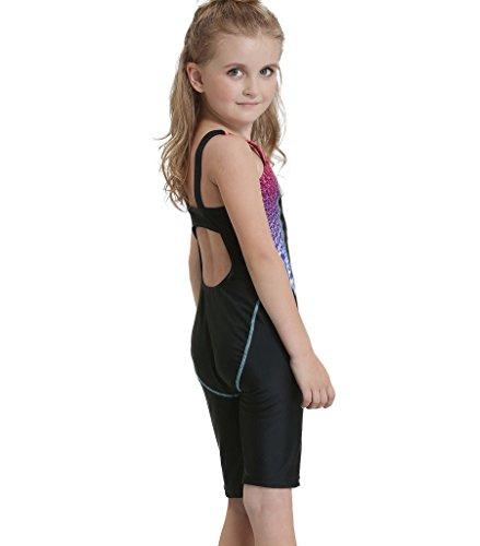 Bwiv Mädchen Badeanzug einteil mit bein Kinder chlorresistent Wettkampf-Badeanzug Schwarz mit blauen Streifen 131-145cm,10-12 Jahre