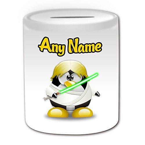 Personalisiertes Geschenk–Luke Skywalker Spardose (Pinguin Film Charakter Design Thema, weiß)–Jeder Name/Nachricht auf Ihre Einzigartiges–Kostüm Film Superheld Hero Star Wars Jedi Lichtschwert Laser (Custom Kostüme Luke Skywalker)