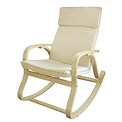 SoBuy FST15-W, Comfortable Relax Rocking Chair, Lounge Chair with Cream Cotton Fabric Cushion - low-cost UK light shop.