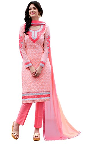 Justkartit Women's Semi-Stitched Pink Colour Georgette Salwar Kameez For Party Wear /...