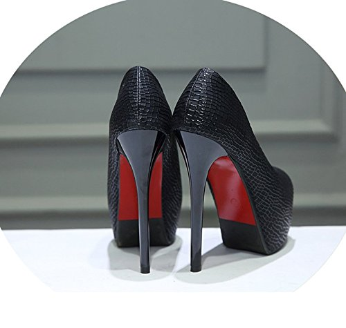 Gtvernh-noir Sexy Chaussures À Talons Hauts Minces Seulement Les Chaussures Avec Un Club De Nuit Chaussures À Talons Hauts Poisson-bouche Chaussures En Cuir, 37 Trente-cinq