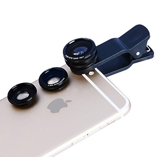 Apexel Kit Lentes de Movíl 3 en 1 Clip On con Lente Fisheye Objetivo de 180 Grados + 0.65X Gran Angular Lente + 10X Macro Lente para iPhone 6/6 Plus,6s/6s Plus, 5S /5 , Samsung Galaxy S7/S7 Edge,S6/S6 Edge /S5, HTC,