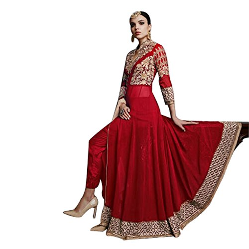 Bollywood Gown Anarkali Salwar Suit indiano musulmana donne da sposa rosso matrimonio 6112