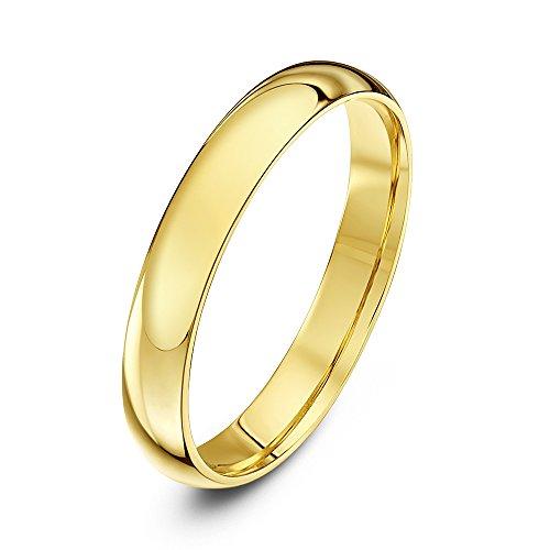 Theia anello nuziale unisex in oro giallo 9k (375), pesante, vestibilità comoda, lucido, 3 mm - misura 19