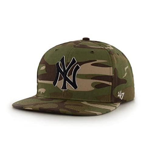 New York Yankees Camouflage Air Drop Leather Strap Adjustable Strapback Hat / Cap by '47