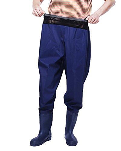 Xinwcang Herren Damen Anglerhose mit Stiefeln Regenhose Overtrousers Unisex Athmungsaktive Wasserdicht Regenarbeitshose Blau 40