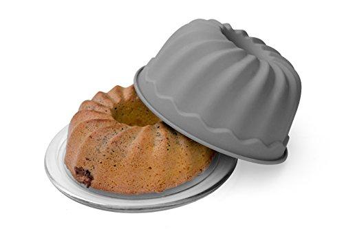 BackeFix Silikon Gugelhupf-Form Kuchen-Form mit Antihafteigenschaft – Zero Waste grau BPA-frei Ø 23cm