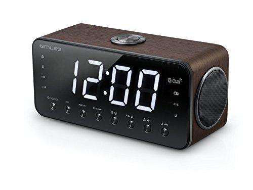 Muse M-196 DWT digitaler Stereo Radio-Wecker mit riesigem LED-Display (4,6 cm), dimmbar (UKW, MW, Bluetooth, NFC, USB, AUX, Senderspeicher, Dual-Alarm), holzfarben
