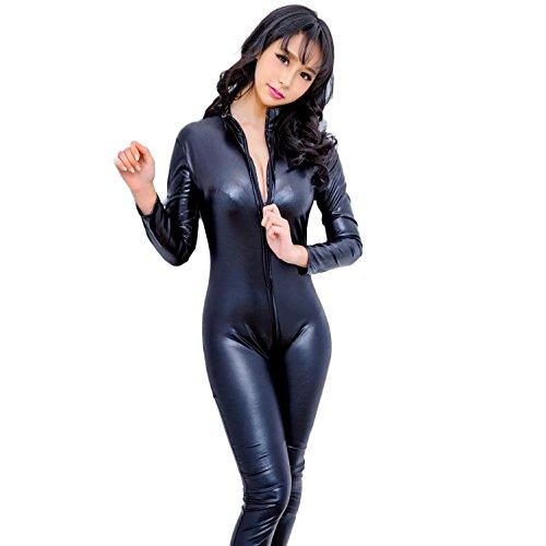 Catwoman Jumpsuit PU Leder Catwoman Kostüm Kleid Catsuit Hen Party Outfit Erwachsene Cosplay Tight Body Reißverschluss bis Schwarz, xl (Spandex-catwoman-kostüm)