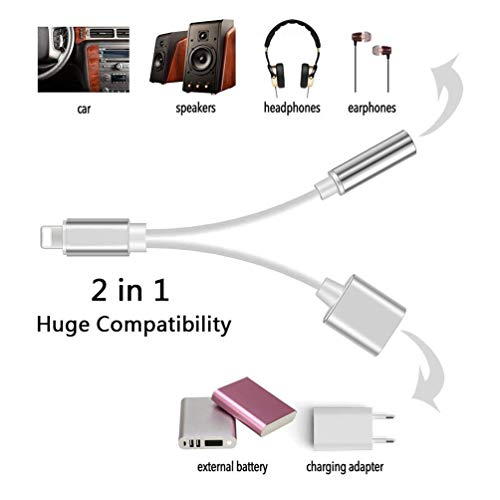 Kopfhörer Adapter für Phone 8/8Plus X 2 in 1 Beleuchtungsbuchse auf 3,5 mm Kopfhörer-Adapter für iPhone AUX-Konverter für KopfhörerbuchseSplitterkabel, kompatibel mit iOS 10.3/11.4, silberfarben - 2