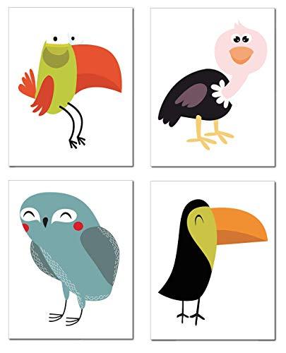 Zauberkern® 4er Poster Set Kinder Bilder - A4 Bild | Kinderzimmer Deko & Babyzimmer Deko | Wanddekoration & Wandbild | Kids Poster mit Tierbilder | Zoo Afrika Bilder Poster Tiere | ohne Rahmen