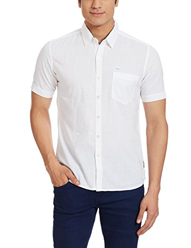 Flying Machine Men's Casual Shirt (8907259953175_FMSH6866_Small_White)