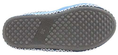 Damen Pantoffel Hausschuhe Slipper warm gefüttert mit fester Sohle Gr. 36 - 41 Blau
