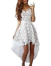 9d05b19c09b0 BoBoLily Donna Vestiti in Pizzo Eleganti da Cerimonia Estivi Vintage  Vestito Alto Basso Asimmetrico Linea Ad
