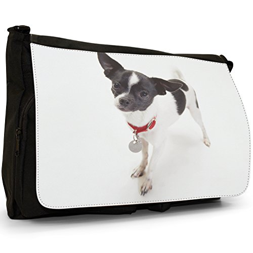 Fancy A Bag Borsa Messenger nero Dalmatian Puppies Chihuahua Dog Standing