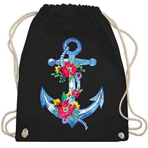 Shirtracer Boheme Look - Blauer Anker mit Blumen - Unisize - Schwarz - WM110 - Turnbeutel und Stoffbeutel aus Bio-Baumwolle