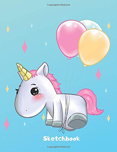 Sketchbook: Cute Kawaii Flying Unicorn Ballon Sketchbook for Girls. 110 Pages Blank Paper for Doodling, Drawing & Sketching. Funny Unicorn Party ... Unicorn Gift Idea for Kids & Unicorn Lover.
