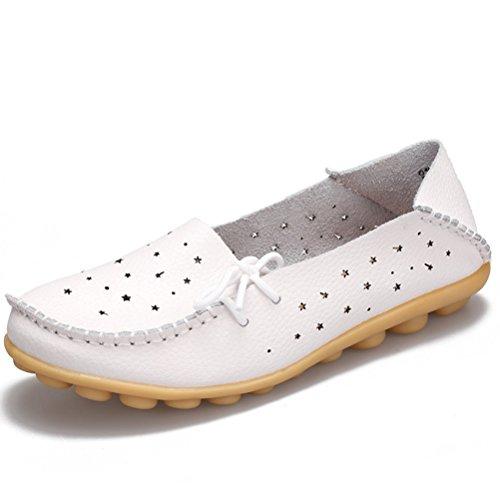 Miagolio Donna Scarpe Stringate Basse Mocassino Flats In Pelle Morbide Casuale Di Vari Colori Tglia 34-43 Bianco