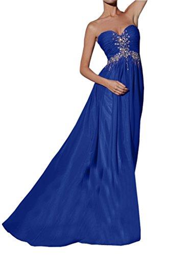 Missdressy Damen Promkleid Abendkleid Herzform Falte Empire Lang Chiffon Royalblau