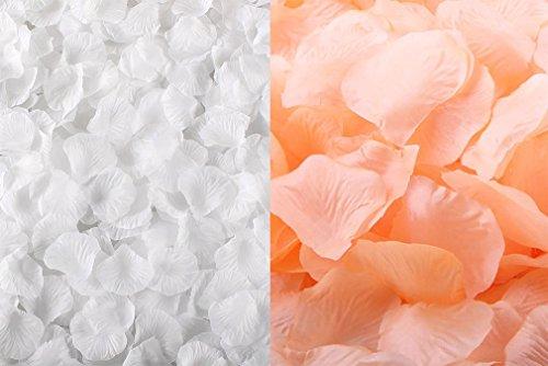 Romantische Rose Peach (qingsun 2000pcs Silk Rosenblätter machen Künstliche Blütenblätter Rose Hochzeit Party Home Dekoration Konfetti Peach + White)