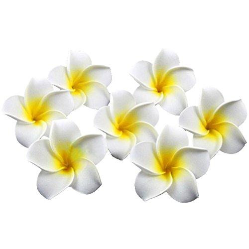PIXNOR 100er 6CM Plumeria Hawaiian Frangipani Schaumblüte für Hochzeit Party Dekoration (weiß)