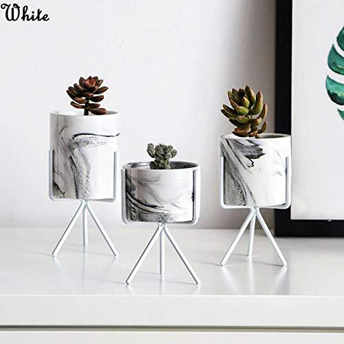 CTOBB Eisen Pflanze Vase Stand Pflanzgefäß Halter Marmor Keramik Blumentopf Regal Rack Garten, weiß, groß -