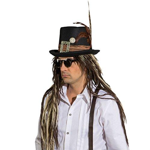 NET TOYS Steampunk Zylinder Gothic Hut Halloween Zylinderhut Viktorianischer Federhut Feder Faschingshut London Karnevalshut Karnevalskostüme Accessoires