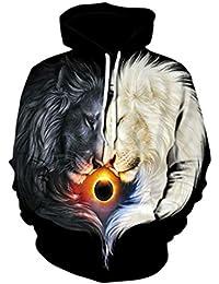 B-Pertand Sudadera de Moda con Capucha Wolf Cool Men s para Hombre de  Autumn and f412a4d02c1