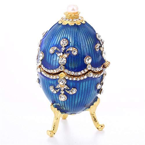 Vintage Box Faberge Egg Crystal Bejeweled Ring Schatzspeicher Aufbewahrt Osterei Sammlerstück Geschenke Hochzeit Schmuck Display