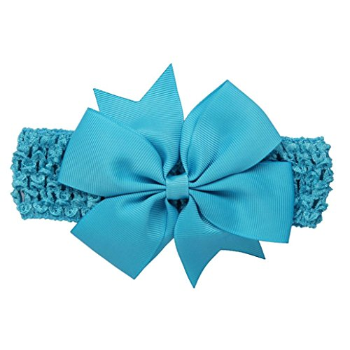 (erthome Baby Haarnadel, Kinder elastisches Blumen Stirnband Haar Mädchen Baby Bowknot Haarband Set 3Pcs (Spitzen-Schleife Blau))