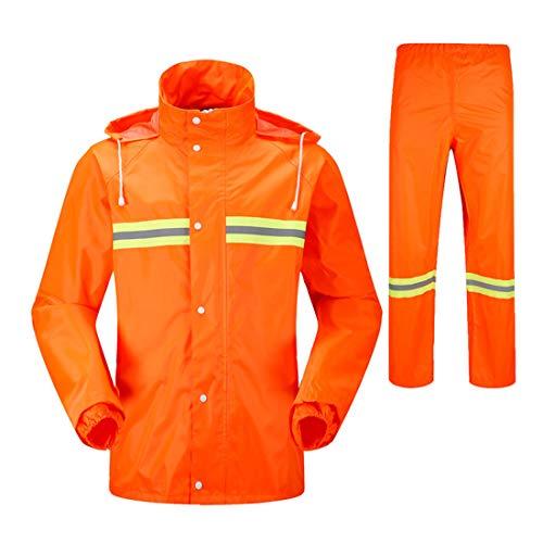 Poncho Hygiene Labor Orange Erwachsene Split Garten Wasserdichte Reflektierende Overalls Doppel Regenmantel Anzug (M-XXXL) Sicherheitsmäntel (Farbe : Orange, Size : XXXL) -