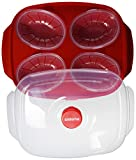 Sistema Microwave Egg Poacher for Up to 4 Eggs, 28.7 x 20.5 x 8.4 cm, Red