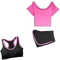 Blancho Bedding Traje de Yoga, Mujer 3 Piezas Conjuntos de Deporte Traje Deportivo Profesional y Pantalón Corto