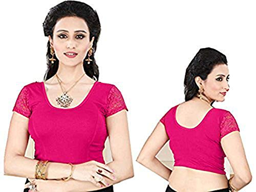 Fertige, Free Size Saree Blouse, Blusen, Bollywood, Sari, Goa, Indien, Hochzeit, Kleid, Oberteil, Party,101 (Pink)