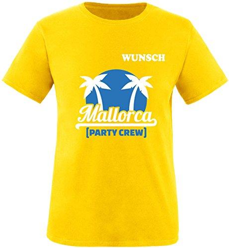 EZYshirt® Mallorca Party-Crew | Wunschname | Damen & Herren Rundhals T-Shirt Herren/Gelb/Weiß/Blau