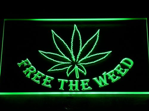 Enseigne Lumineuse 404-g Free the Weed Marijuana High Life LED Light Sign