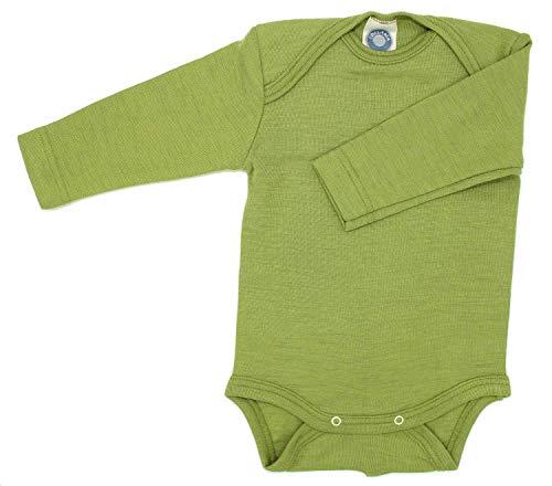*Cosilana Baby-Body, Wollbody, Größe 50/56, Farbe Grün, 70% Wolle und 30% Seide kbT*