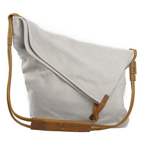 VDSL Canvas Umhängetasche Crossbody Tasche Damen Schultertasche Canvas Messenger Bag Mädchen Schultertaschen Bucket Bag Shopper Shoulder bag für Schule Reisen Arbeit (Weiß ) ()