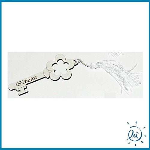 6 pezzi bomboniere accademia chiave con nappina in legno con fiore e felicita misura h.9 cm | chiave portafortuna per bomboniere e idee regalo casa e coppia