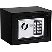Mini Solid Steel Digital Electronic Safety Box Keypad Lock Safe for Passport Cash Jewelry and Smartphones - 17EB Black