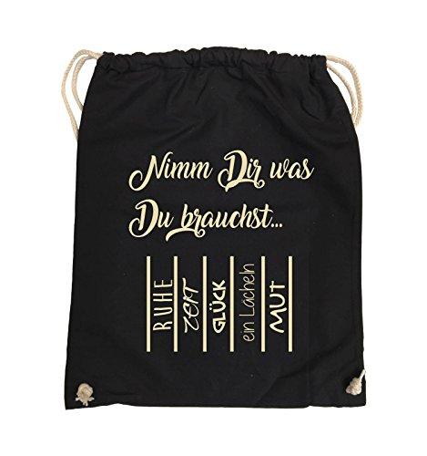 Comedy Bags - Nimm Dir was Du brauchst - ABREIßZETTEL - Turnbeutel - 37x46cm - Farbe: Schwarz / Silber Schwarz / Beige