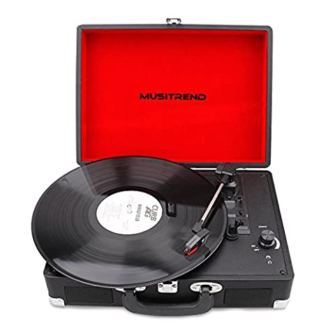 MUSITREND Record Player Classic Portable Suitcase 3 Speed Stereo Turntable